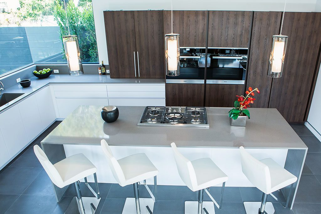 Project Info. All White Contemporary Kitchen Los Angeles