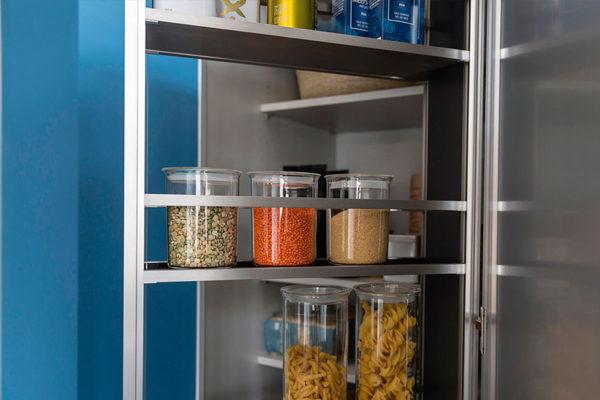 ingredient jars on modern shelves