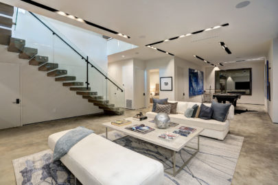 ultra modern living room and stairway