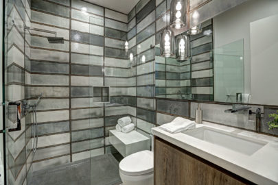modern bathroom with subway tiles