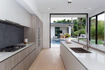 german style kitchen and open backyard