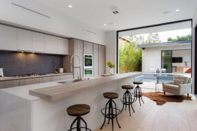 modern kitchen with backyard escape